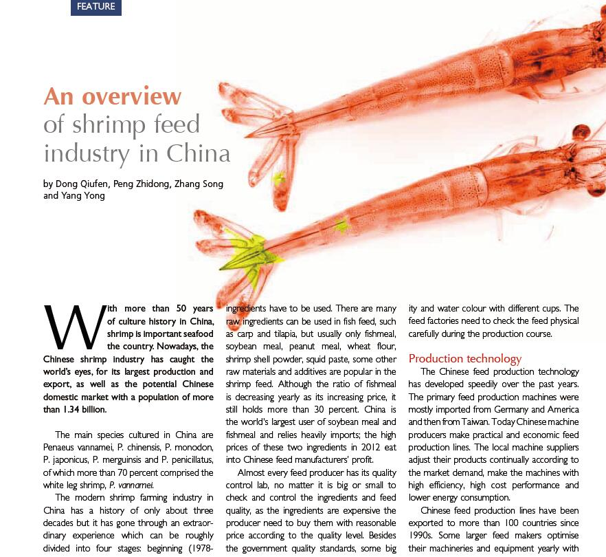 Dong Q F, Peng Z D, Zhang S, Yang Y. 2013. An overview of shrimp feed industry in China. International Aquafeed, January-February: 22-24.