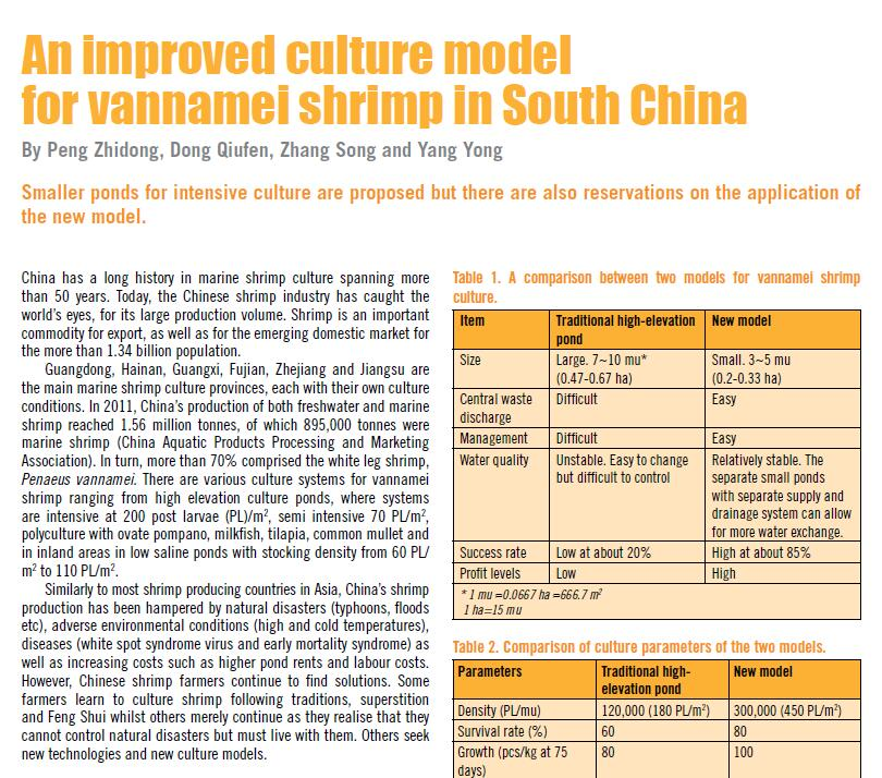 Peng Z D, Dong Q F, Zhang S, Yang Y. 2012. An improved culture model for vannamei shrimp in south China. AQUA Culture Asia Pacific Magazine, November/December: 16-19.